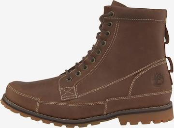 TIMBERLAND Boots med snörning i brun
