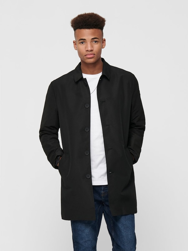 Only & Sons Trenchcoat in schwarz, Produktansicht