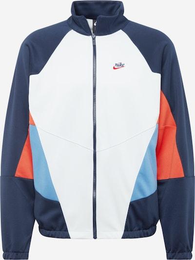 Nike Sportswear Tussenjas 'Heritage' in de kleur Navy / Lichtblauw / Koraal / Offwhite, Productweergave