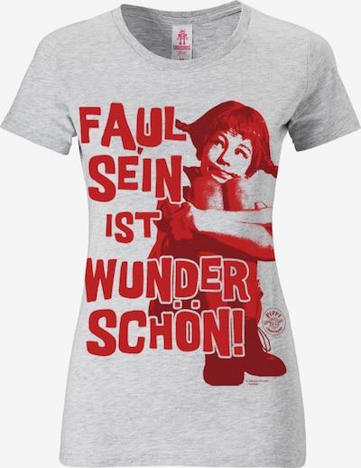 LOGOSHIRT T-Shirt mit 'Faul sein ist wunderschön'-Print in hellgrau / rot, Produktansicht