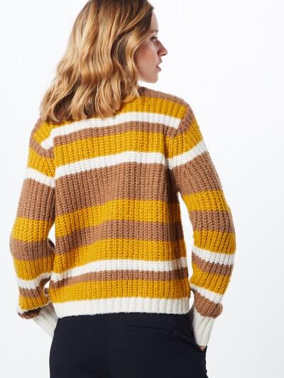 PIECES Džemperis 'HUE' pieejami brūns / dzeltens / balts: Aizmugures skats