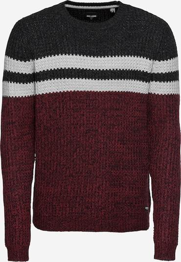 Only & Sons Pullover 'onsLAZLO STRIPED CREW NECK KNIT' in grau / weinrot / schwarz, Produktansicht