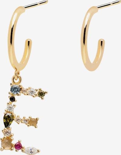 P D PAOLA Ohrhänger 'Letter E' in gold / mischfarben, Produktansicht