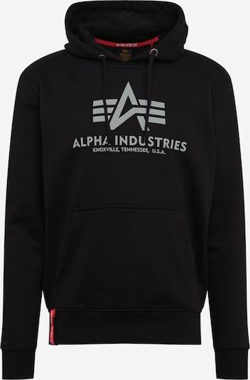 ALPHA INDUSTRIES Sweatshirt 'Basic Hoody Reflective Print' in schwarz / weiß, Produktansicht