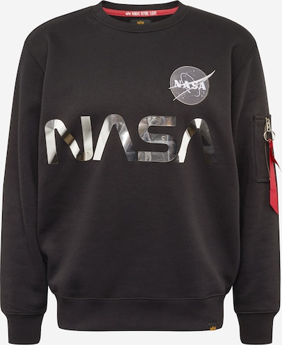 ALPHA INDUSTRIES Sweatshirt 'NASA' i svart / silver, Produktvy