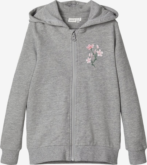 NAME IT Sweatjacke 'NKFBEATE SWE CARD WH UNB CAMP' in grau, Produktansicht