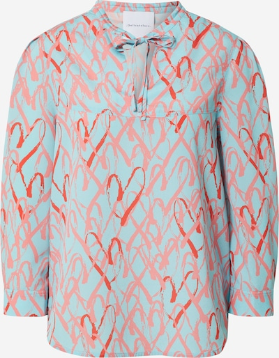 DELICATELOVE Bluza 'Pauline B Heart' | turkizna / roza / rdeča barva, Prikaz izdelka