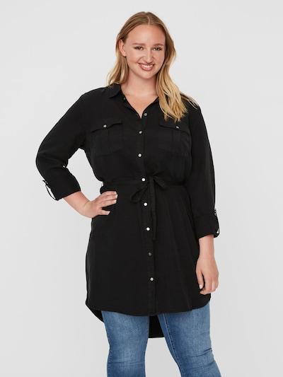 Vero Moda Curve Bluse 'VMSILLACURVE LS LONG SHIRT BL K - NOOS' in black denim, Modelansicht