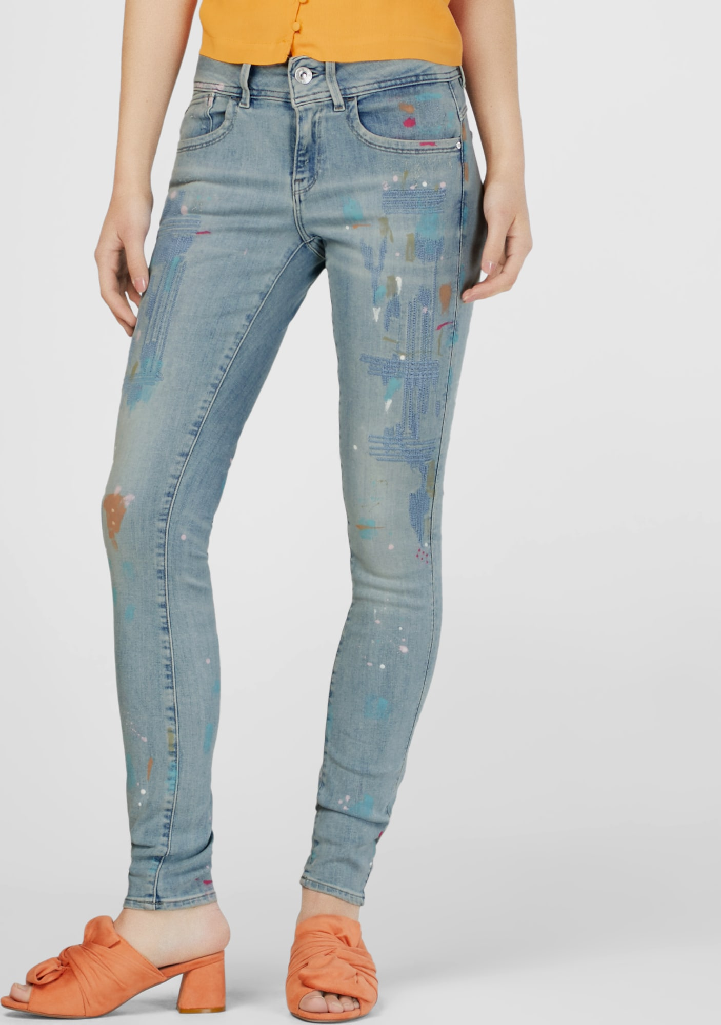 Citaten Weergeven Jeans : G star raw jeans lynn b mid skinny wmn in blauw about you
