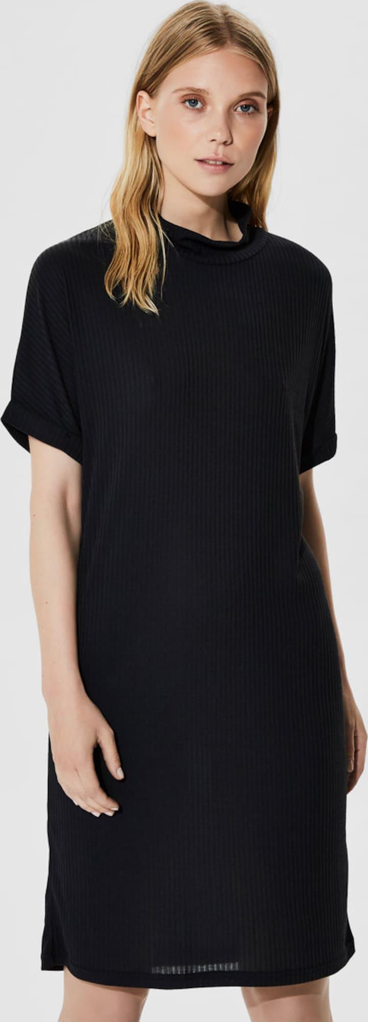 selected femme modalmix kleid mit kurzen rmeln in schwarz. Black Bedroom Furniture Sets. Home Design Ideas