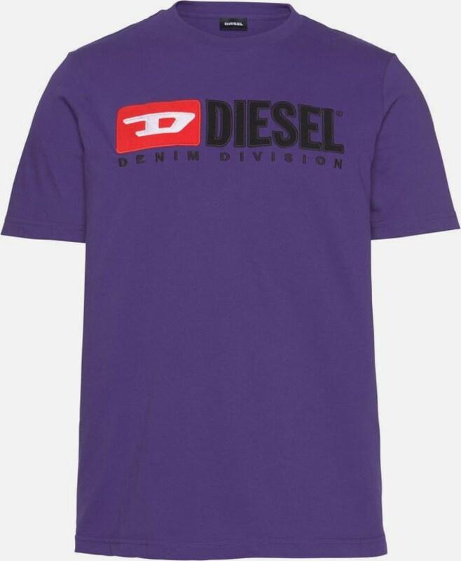 DIESEL T-Shirt 'T Just Division' in dunkellila   rot   schwarz   weiß  Freizeit, schlank, schlank