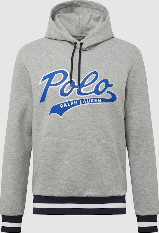 POLO RALPH LAUREN Sweatshirt 'LSPOHOODM1-LONG SLEEVE-KNIT' in blau   hellgrau  Neuer Aktionsrabatt