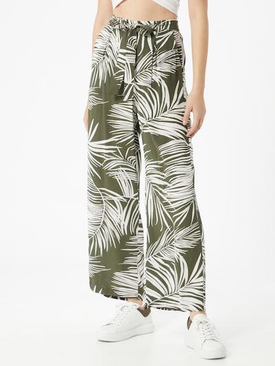 Pantaloni cutați 'AUGUSTINA' ONLY pe oliv / alb: Privire frontală
