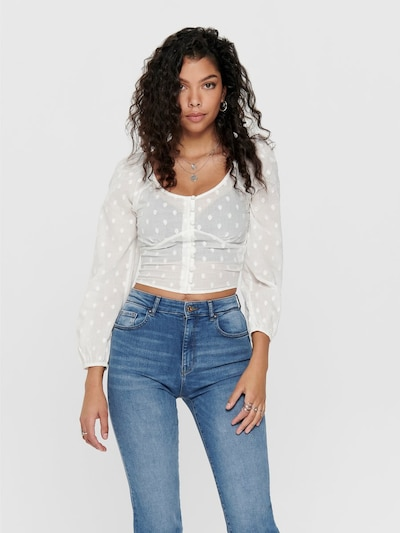 ONLY Bluse 'ONLESTHER L/S CROPPED TOP WVN' in weiß, Modelansicht