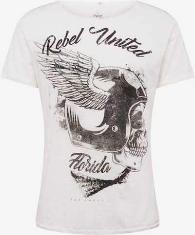Tricou 'MT REBELS UNITED' Key Largo pe offwhite: Privire frontală