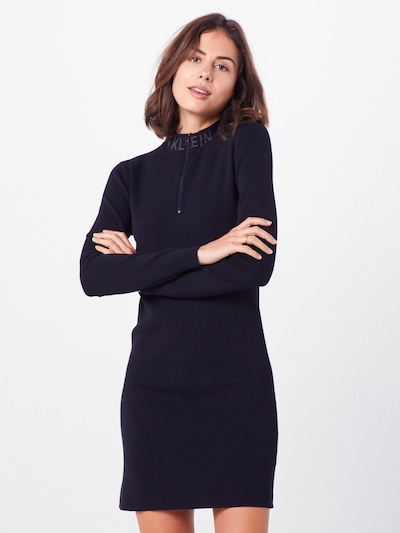 fekete Calvin Klein Jeans Ruha 'NECK LOGO FITTED SWEATER DRESS', Modell nézet