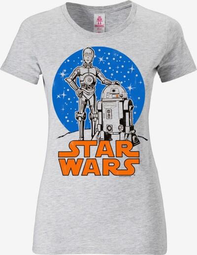 LOGOSHIRT T-Shirt 'R2-D2 & C-3PO' in blau / graumeliert / orange, Produktansicht