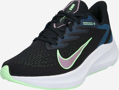 NIKE Skriešanas apavi 'Air Zoom Winflo 7' tumši zils / neonzaļš / melns, Preces skats
