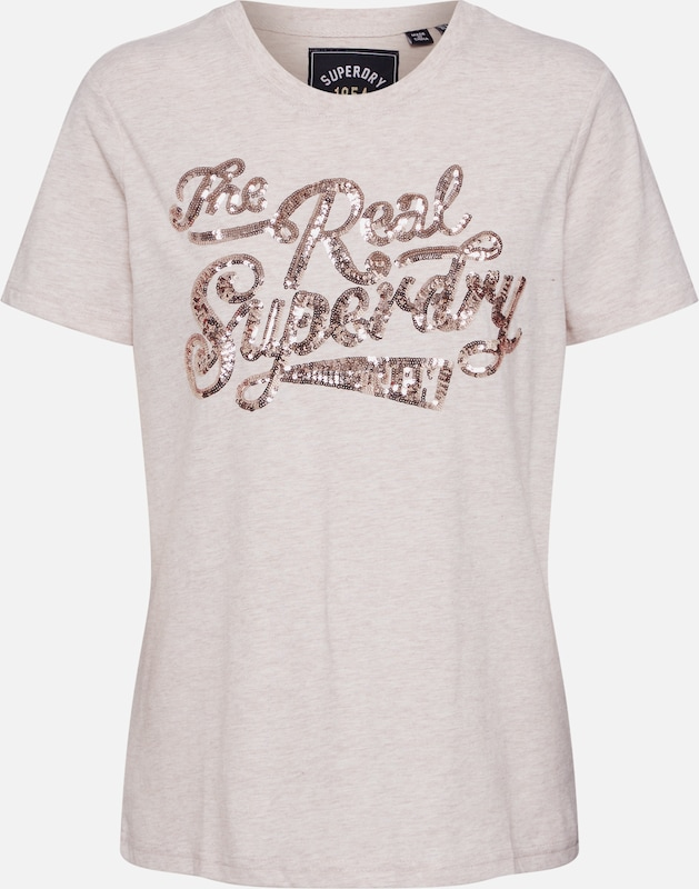 bézs Superdry Póló 'THE REAL SEQUIN ENTRY TEE', Termék nézet