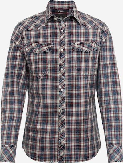 G-Star RAW Overhemd '3301 slim shirt l\s' in de kleur Donkerblauw / Rood / Wit, Productweergave