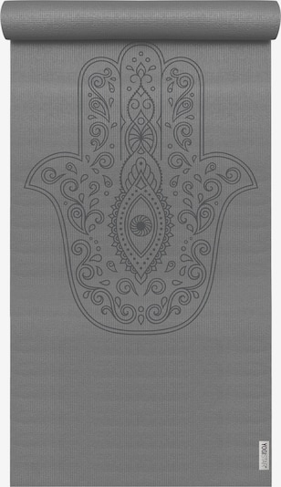 YOGISTAR.COM Yogamatte 'Basic Art Collection Hand Of Fatima' in grau / basaltgrau, Produktansicht