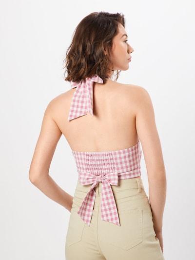 Top 'KIKI' Fashion Union pe roz / alb: Privire spate