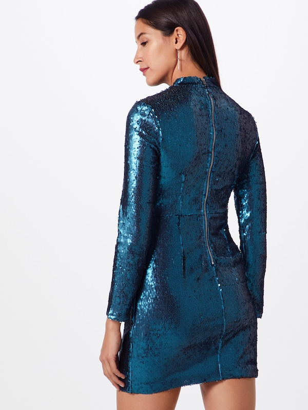 'long Missguided BleuVert Cocktail Bodycon' Robe De Sleeved En Sequin rdBoCWxe