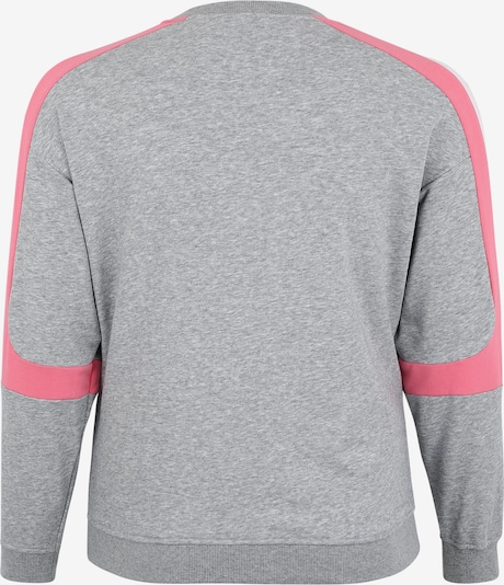 Urban Classics Curvy Sweatshirt 'Ladies Panel Terry Crewneck' in grau / pink / weiß: Rückansicht