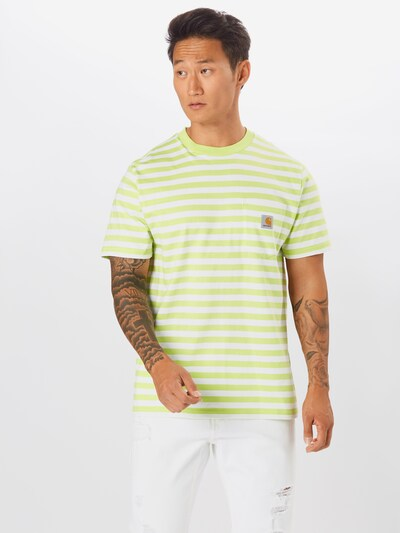 Carhartt WIP T-Shirt 'Scotty Pocket' in limette / weiß: Frontalansicht