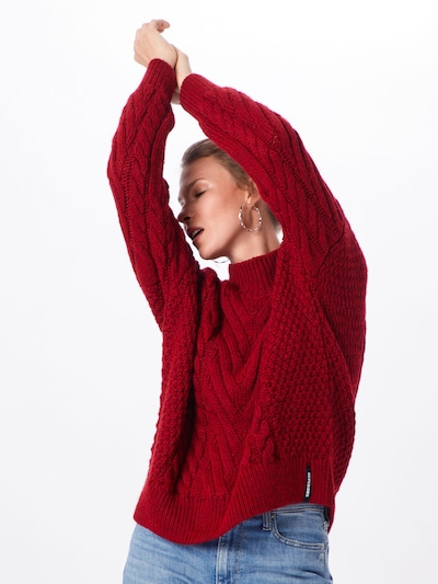 Superdry Pullover 'DALLAS CHUNKY CABLE KNIT' in rot, Modelansicht