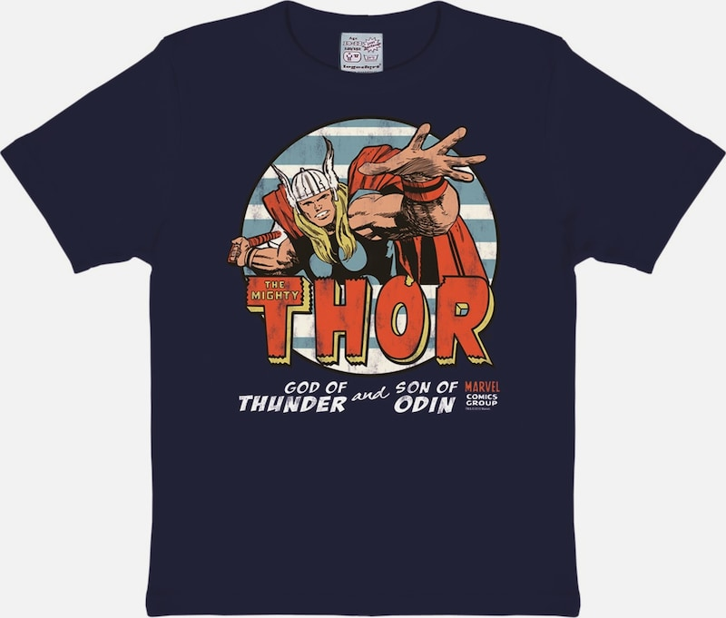 LOGOSHIRT T-Shirt The Mighty Thor in blau / dunkelblau / rot: Frontalansicht