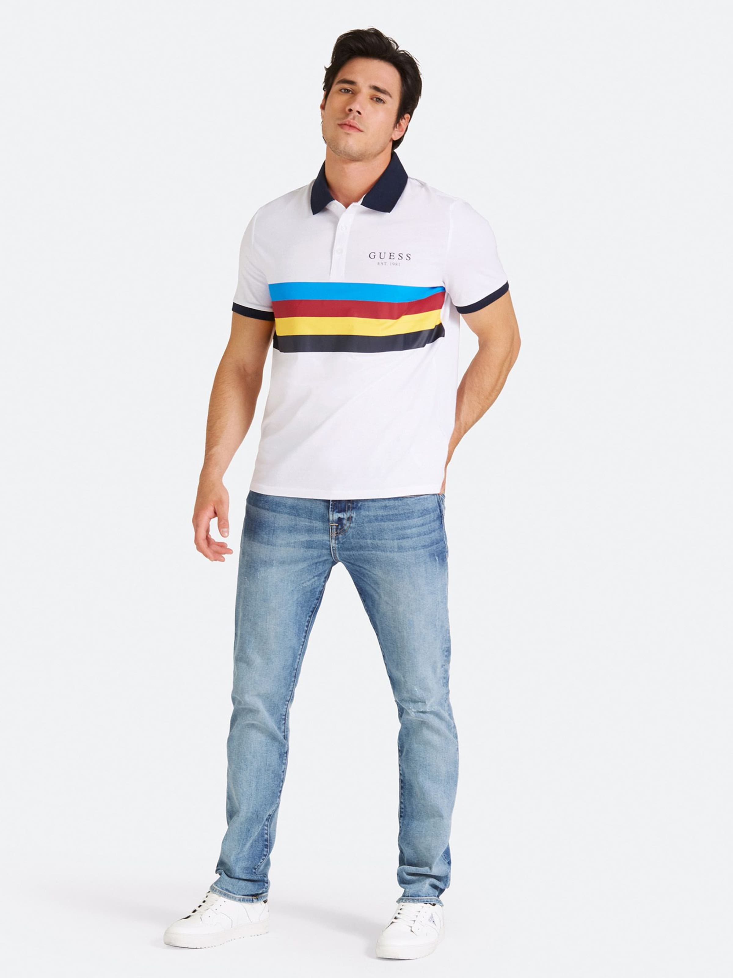 Weiß Poloshirt In Print Mit Color Guess Block BlauGelb Rot OP08nwkXNZ