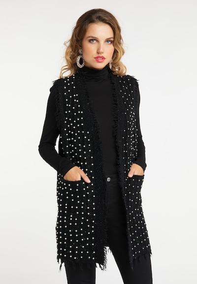 faina Strickweste in schwarz / perlweiß, Modelansicht