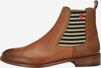 Crickit Chelsea Boot 'SUVI' mit Streifen und Herzchen in cognac / hellrot / schwarz, Produktansicht