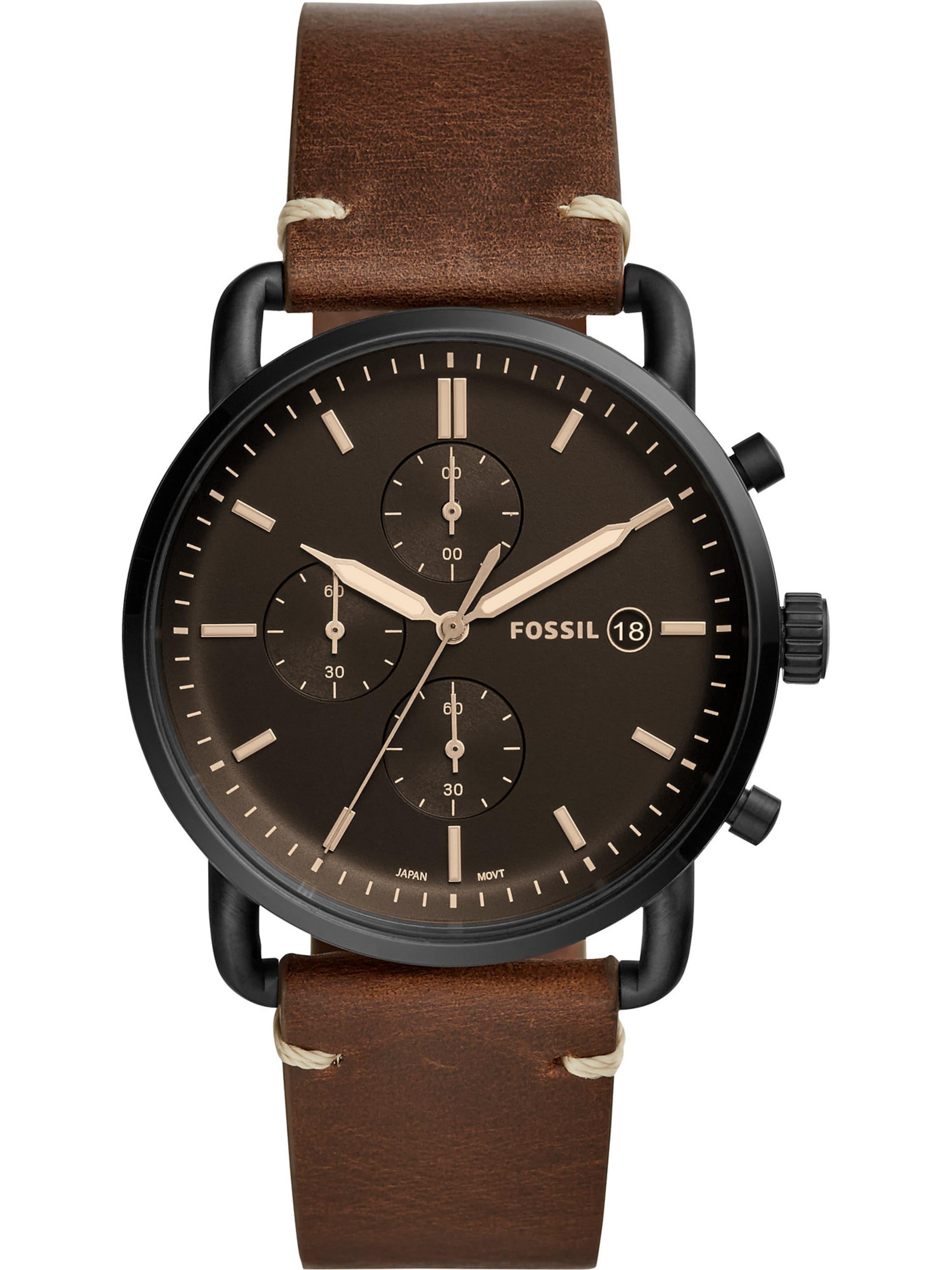 Chronograph In Fossil 'the Dunkelbraun Schwarz Armbanduhr Commuter' Mit CremeBraun 9bIH2YDeWE