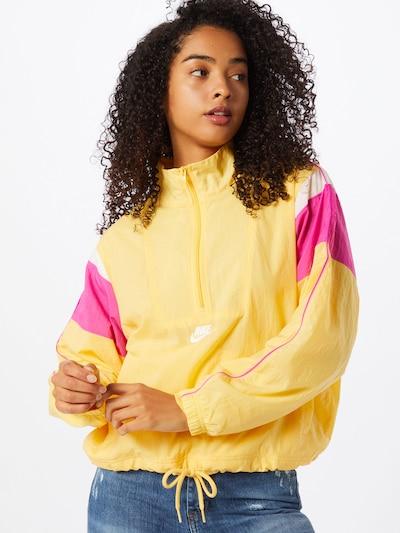 Nike Sportswear Funkcionalna jakna 'Heritage Half-Zip' | rumena / roza / bela barva, Prikaz modela