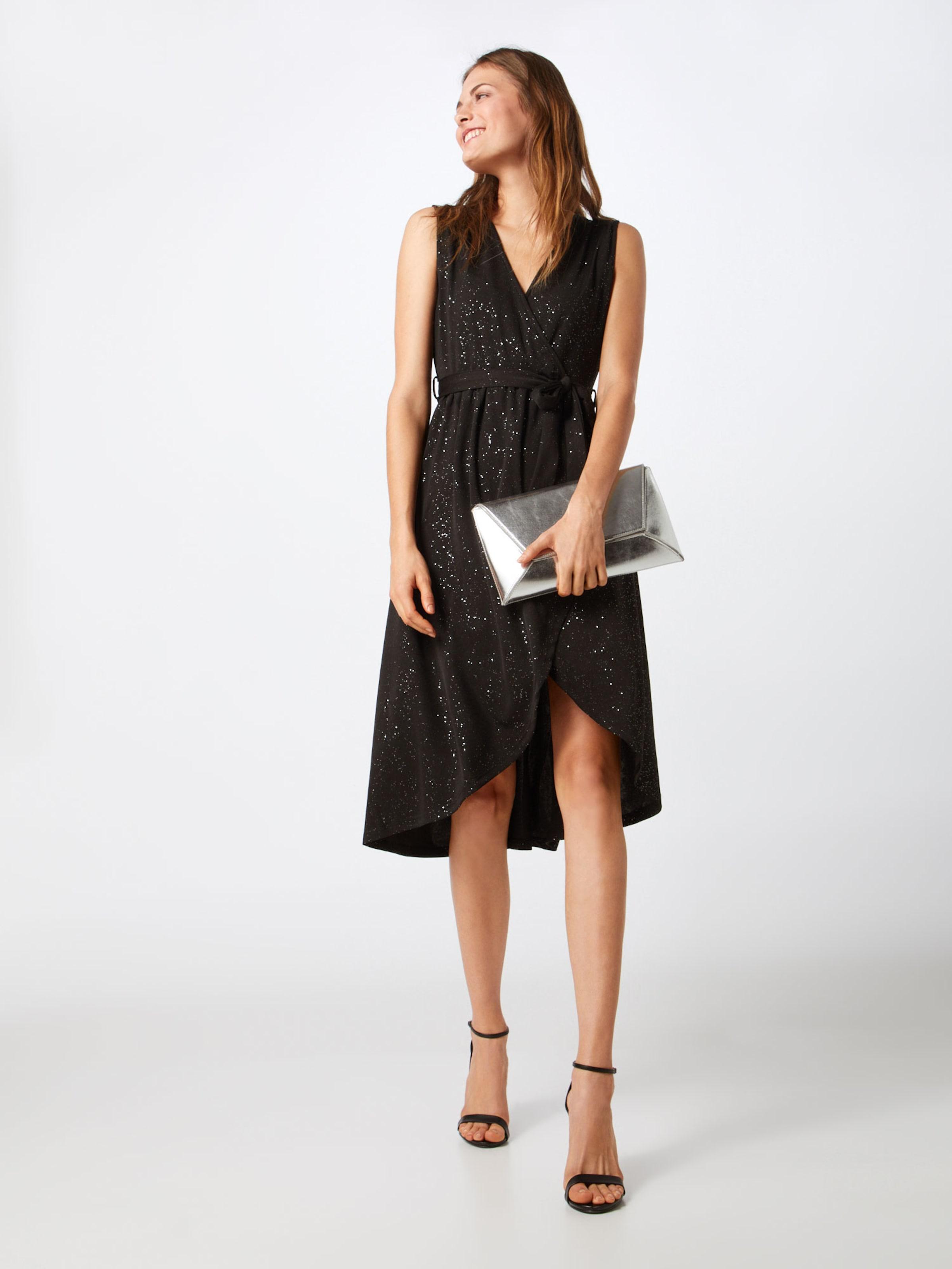 'glitz Dress' DamenKleider London Mela SchwarzSilber Midi In 6bvgY7yf