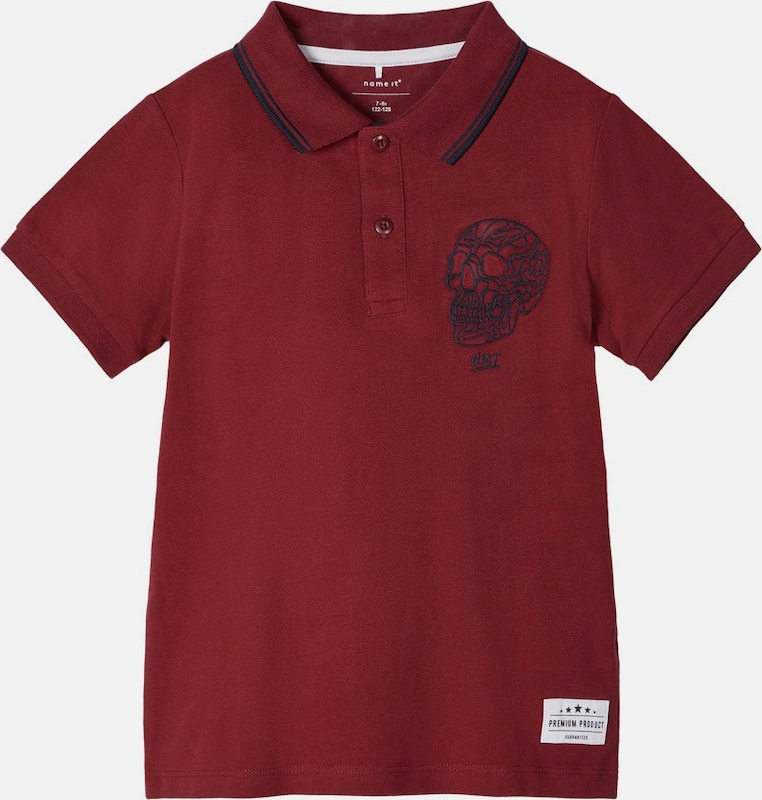 NAME IT Poloshirt in kirschrot / schwarz / weiß, Produktansicht