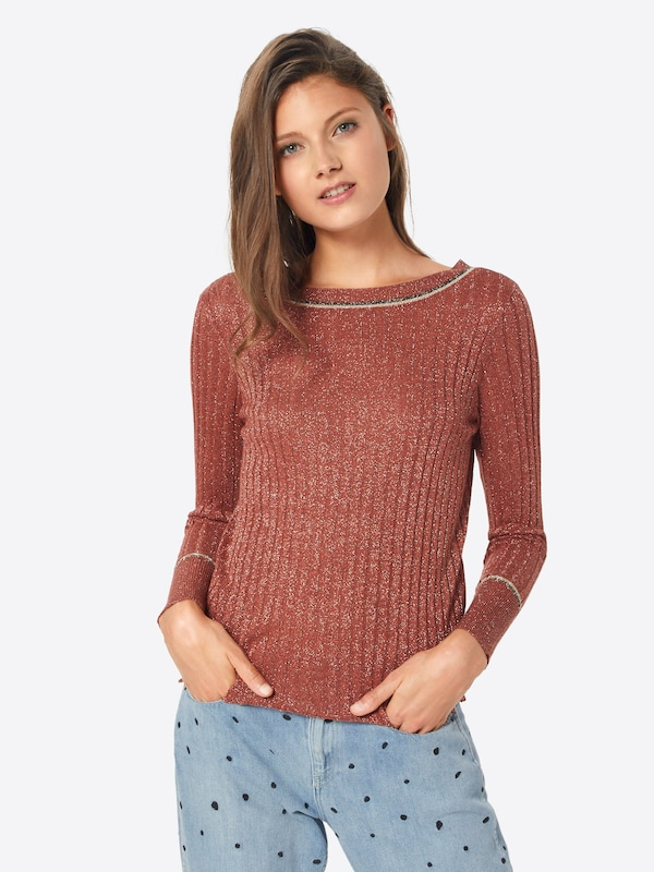Vila Noir Pull Beige En ChinéRouge over W9ID2YEH
