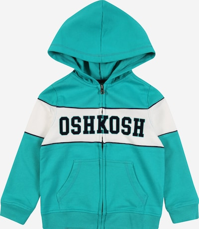 OshKosh Sweatshirt 'PIECED HOODIE W PIPING Dreamy Tea' in de kleur Turquoise / Wit, Productweergave