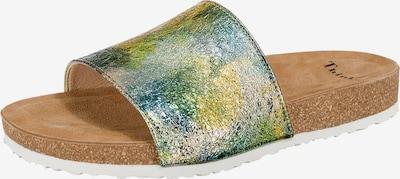 THINK! Pantoletten 'Bluza' in hellbraun / grün / smaragd / schilf / weiß, Produktansicht