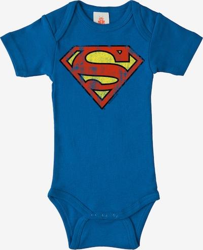 "LOGOSHIRT Baby-Body ""Superman"" in blau / gelb / rot, Produktansicht"