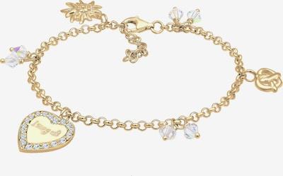 ELLI Armband 'Bettelarmband, Brezel, Edelweiss, Herz, Wiesn' in gold / weiß, Produktansicht