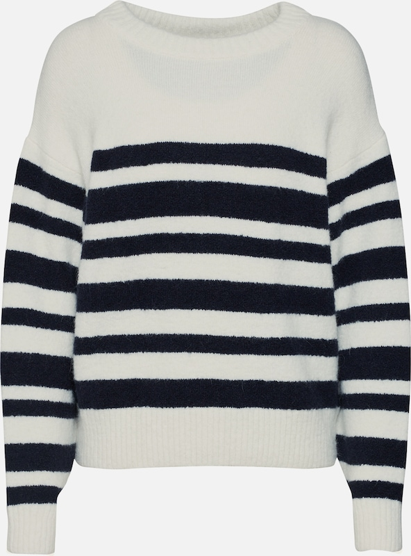 EDITED Pullover 'Dory' in navy / naturweiß: Frontalansicht