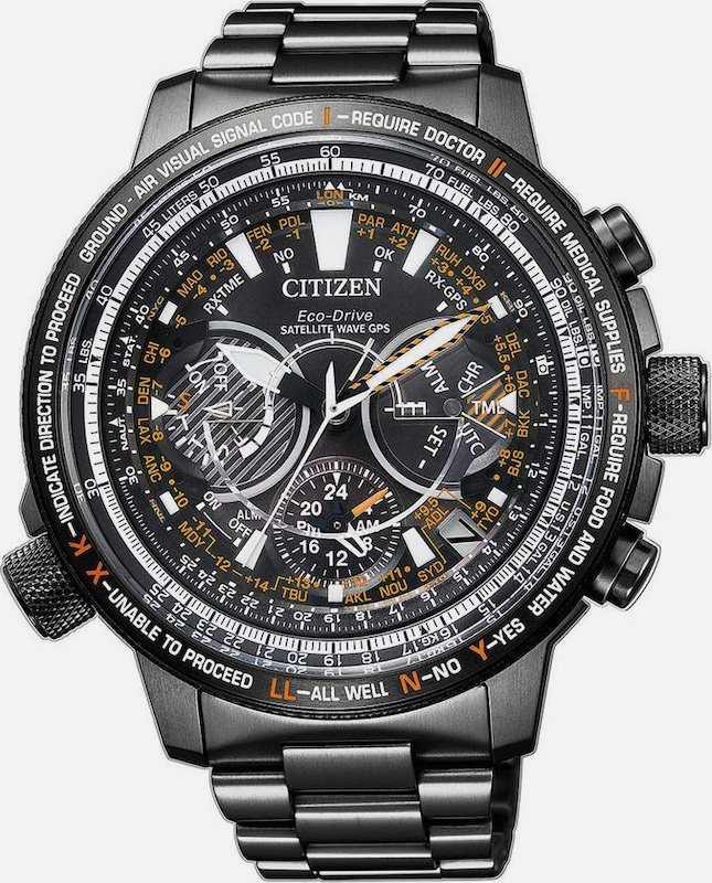 CITIZEN Uhr 'Satelitte Wave Eco-Drive F990' in anthrazit: Frontalansicht