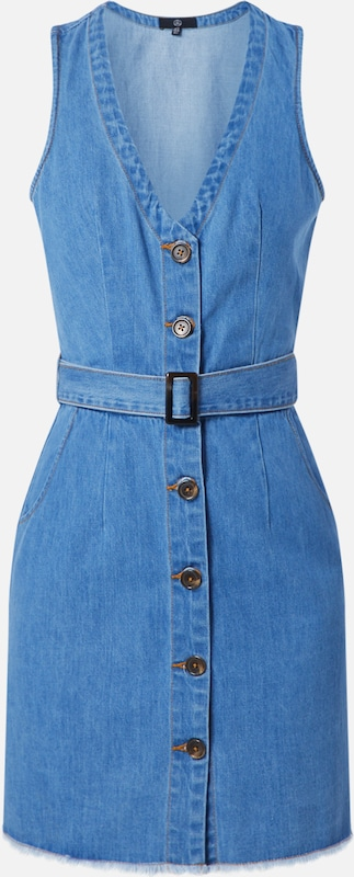 Missguided Jeanskleid 'BELTED BUTTON' in blue denim: Frontalansicht