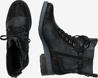 MUSTANG Bottines à lacets en noir: Vue de profil