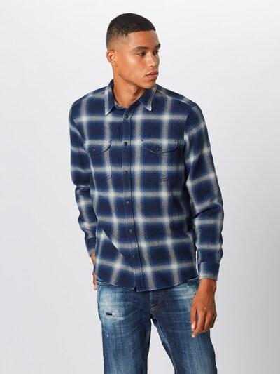 GAP Košile 'NOVELTY WESTERN - BLUE HERRINGBONE' - tmavě modrá / černá: Pohled zepředu