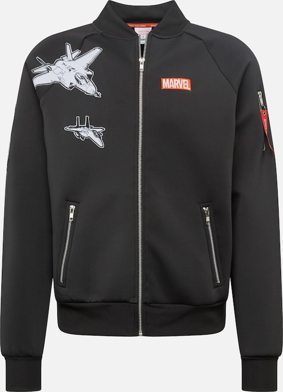 ABOUT YOU x MARVEL Bomberjacke 'Felix' in schwarz: Frontalansicht