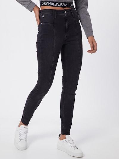 Calvin Klein Jeans Damen - Jeans 'SEAMED HIGH RISE SUPER SKINNY A' in black denim, Modelansicht